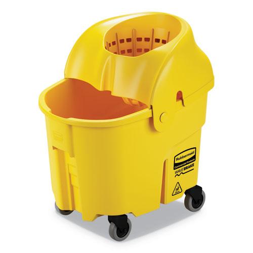 WaveBrake 2.0 Bucket/Wringer Combos, Down-Press, 35 qt, Plastic, Yellow