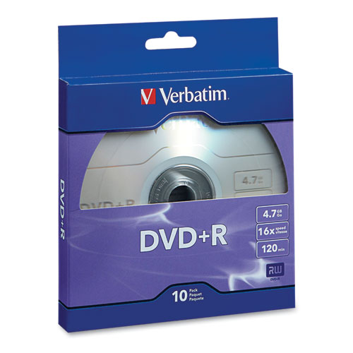 DVDR Recordable Disc, 4.7GB, 16x, Silver, 10/Pack