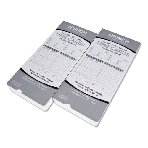 Time Clock Cards for uPunch HN2000/HN4000/HN4600, Two Sides, 7.5 x 3.5, 100/Pack