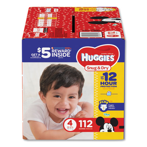 Huggies® Snug and Dry Diapers, Size 4, 22 lb to 37 lb, 112/Pack
