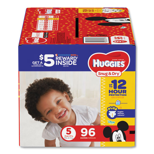Huggies® Snug and Dry Diapers, Size 5, 27 lb to 35 lb, 96/Pack