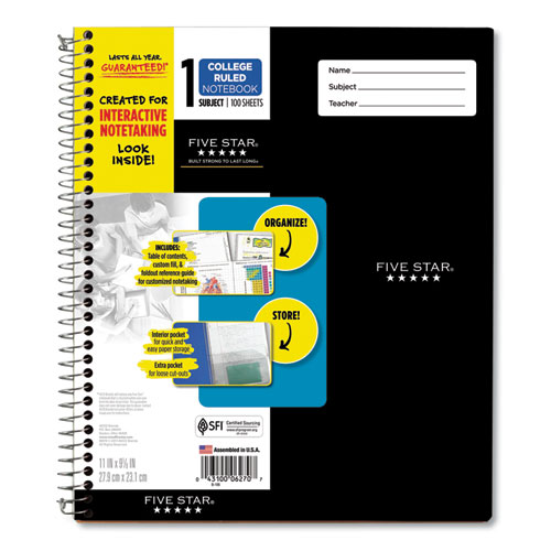 Interactive Notebook, 1 Subject, Medium/College Rule, Assorted Cover Colors, 11 x 8.5, 100 Sheets
