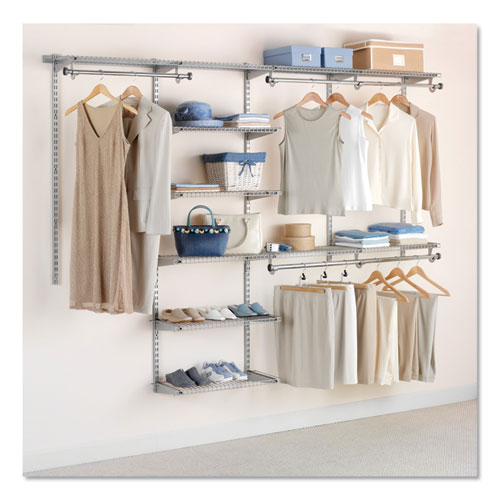 Configurations Custom Closet Deluxe Kit, 9 Shelves, 48 to 96w x 16d x 47.5h, Titanium