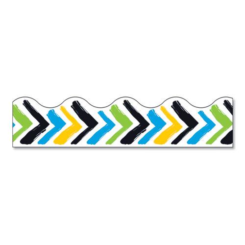 Terrific Trimmers Print Board Trim, 2 1/4 x 41, Bold Strokes Chevron, Assorted