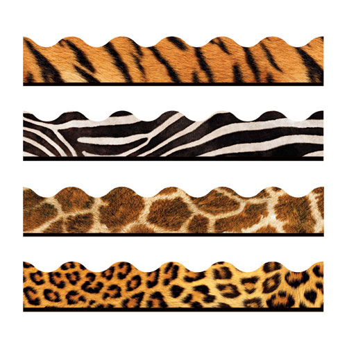 Terrific Trimmers Print Board Trim, 2 1/4 x 156 ft, Animal Prints, Assorted