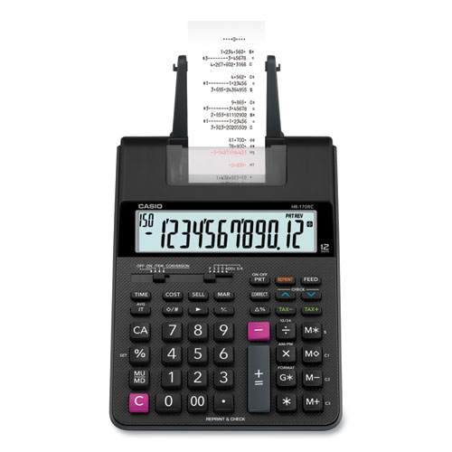 Casio® HR170R Printing Calculator, 12-Digit, LCD