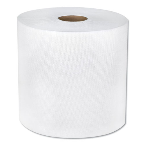TAD Hardwound Roll Towels, 1-Ply, 7 7/8 x 600 ft, White, 6 Rolls/Carton