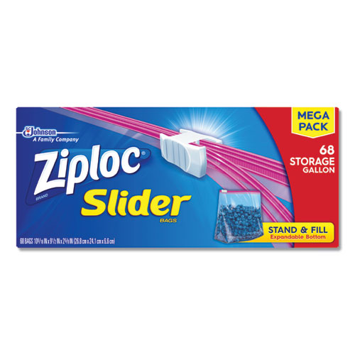 Slider Storage Bags, 1 gal, 9.5 x 10.56, Clear, 9/Carton