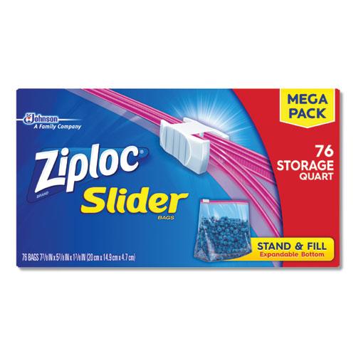 Slider Storage Bags, 1 qt, 5.88 x 7.88, Clear, 9/Carton