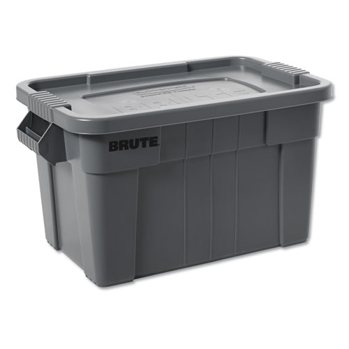 Rubbermaid® Commercial BRUTE Tote with Lid, 14 gal, 17w x 28d x 11h, White