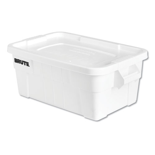 BRUTE Tote with Lid, 14 gal, 17w x 28d x 11h, White