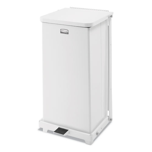 Rubbermaid® Commercial Defenders Quiet Step Can, 6.5 gal, Metal, White