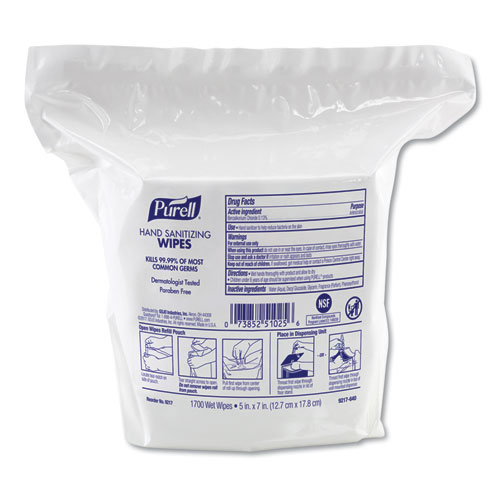 Hand Sanitizing Wipes, 8.25 x 14.06, Fresh Citrus Scent, 1700 Wipes/Pouch, 2 Pouches/Carton
