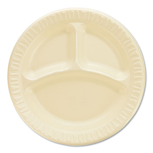 Quiet Classic Laminated Foam Dinnerware, Compartment Plate, 9 Diameter, 500/CT