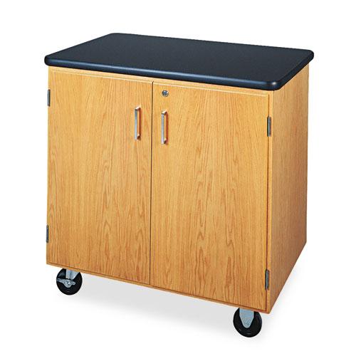 Diversified Woodcrafts Mobile Storage Cabinet, 36w x 24d x 36h, Black/Oak