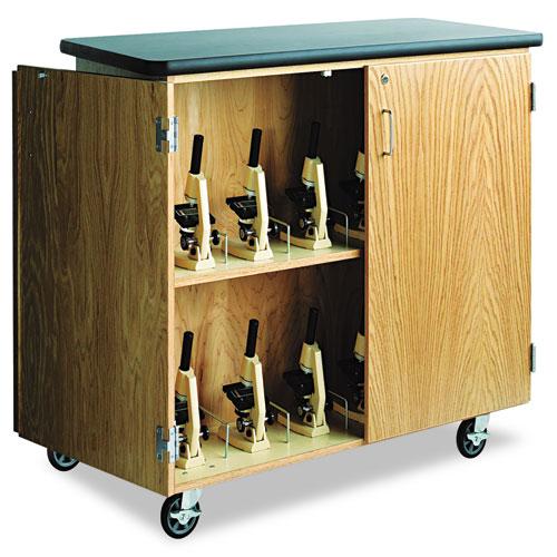 Mobile Microscope Storage Cabinet, 48w x 24d x 40-1/2h, Black/Oak