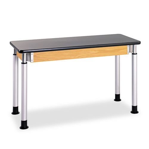 Diversified Woodcrafts Adjustable-Height Table, Rectangular, 48w x 24d x 42h, Black