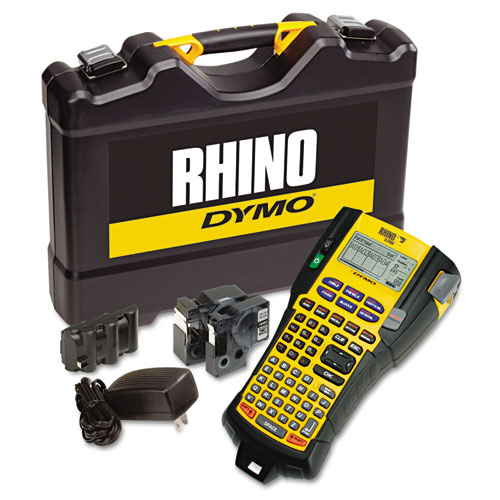 Rhino 5200 Industrial Label Maker Kit, 5 Lines, 4 9/10w x 9 1/5d x 2 1/2h | by Plexsupply
