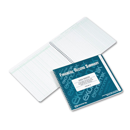 Ekonomik® Wirebound Check Register Accounting System, 8 3/4 x 10, 40-Page Book