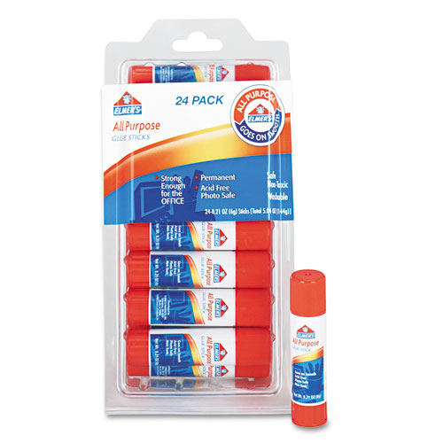 Disappearing Glue Stick, 0.21 oz, Applies White, Dries Clear, 24/Pack | by Plexsupply
