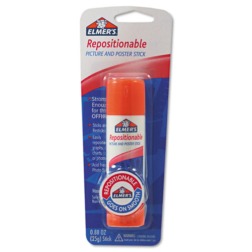 Repositionable Poster & Picture Glue Stick, 0.88 oz, Dries Clear | by Plexsupply