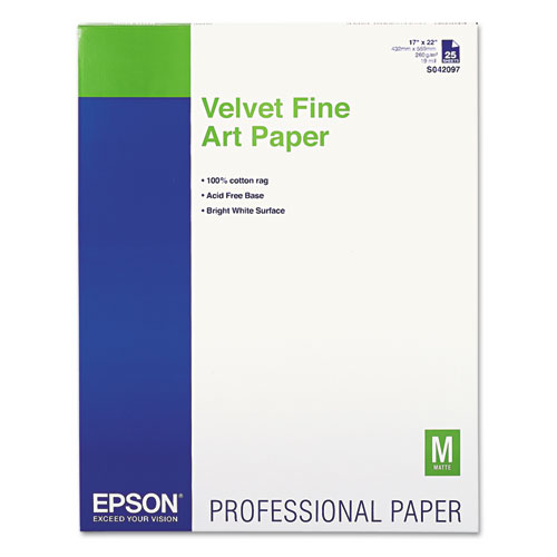 Epson® Velvet Fine Art Paper, 17 x 22, White, 25 Sheets/Pack