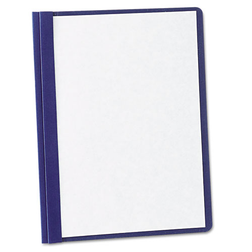 """Paper Report Cover, Tang Clip, Letter, 1/2"""" Capacity, Clear/Navy, 5/Pack"""