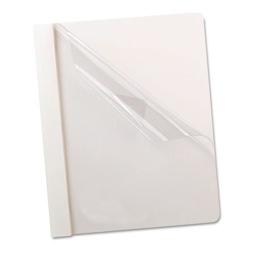 Oxford™ Premium Paper Clear Front Cover, 3 Fasteners, Letter, White, 25/Box