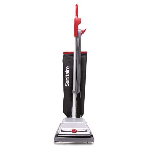 TRADITION QuietClean Upright Vacuum, 18 lb, Gray/Red/Black | by Plexsupply