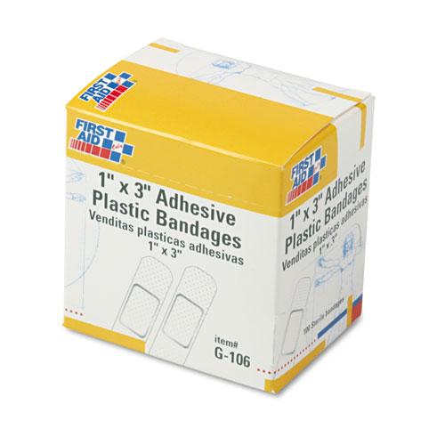 Plastic Adhesive Bandages, 1 x 3, 100/Box