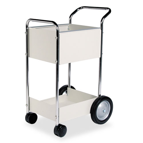 Steel Mail Cart, 75-Folder Capacity, 20w x 25.5d x 39h, Dove Gray