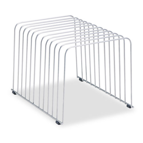 """Wire Desktop Organizer, 11 Sections, Letter to Legal Size Files, 9"""" x 11.38"""" x 8"""", Silver 