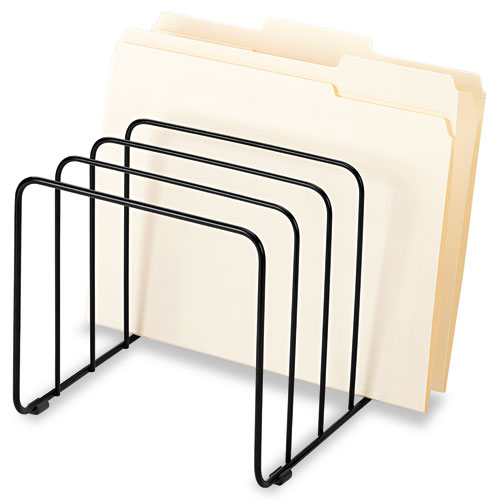 """Wire Vertical File, 5 Sections, Letter to Legal Size Files, 10.25"""" x 8"""" x 7.44"""", Black 