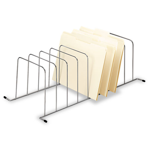 """Wire Desktop to Drawer Organizer, 9 Sections, Letter to Legal Size Files, 11.5"""" x 23.25"""" x 7.5"""", Silver 