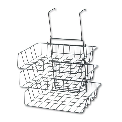 Wire Partition Additions Three-Tray Organizer, 13 1/2 x 11 7/8, Black