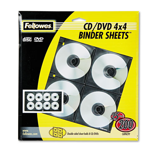 Two-Sided CD/DVD Refill Sheets for Three-Ring Binder, 25/Pack | by Plexsupply