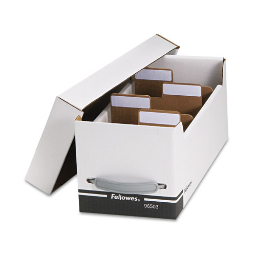 Corrugated Media File, Holds 125 Diskettes/35 Standard Cases, White/Black | by Plexsupply
