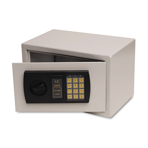 Small Personal Safe, 0.3 cu. ft., 12 1/4w x 7 3/4d x 7 3/4h, Light Gray