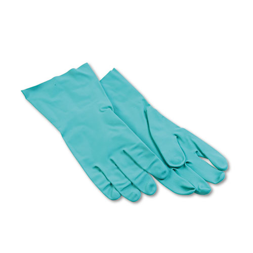 Nitrile Flock-Lined Gloves, Large, Green, Dozen