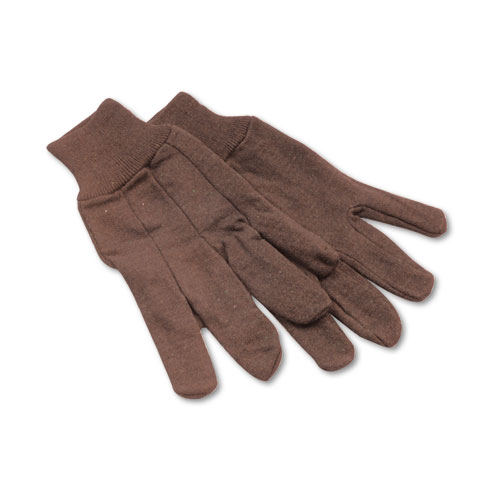 Boardwalk® Jersey Knit Wrist Clute Gloves, One Size Fits Most, Brown, 12 Pairs
