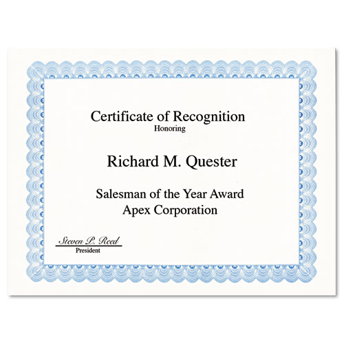 Parchment Paper Certificates, 8-1/2 x 11, Blue Conventional Border, 50/Pack | by Plexsupply