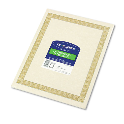 Parchment Paper Certificates, 8-1/2 x 11, Natural Diplomat Border, 50/Pack | by Plexsupply