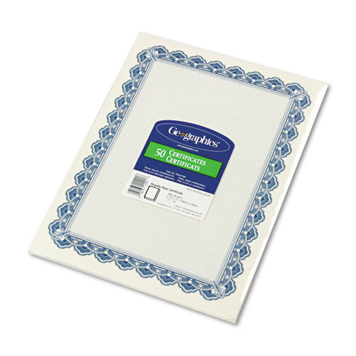 Parchment Paper Certificates, 8-1/2 x 11, Blue Royalty Border, 50/Pack | by Plexsupply