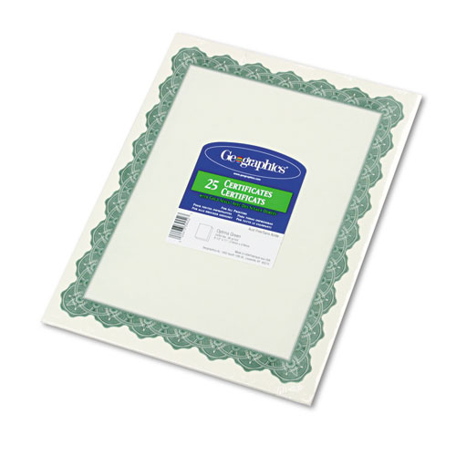 Parchment Paper Certificates, 8-1/2 x 11, Optima Green Border, 25/Pack | by Plexsupply