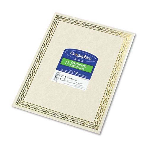 Foil Stamped Award Certificates, 8-1/2 x 11, Gold Serpentine Border, 12/Pack | by Plexsupply