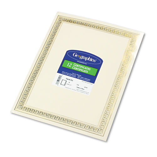 Foil Enhanced Certificates, 8-1/2 x 11, Gold Flourish Border, 12/Pack | by Plexsupply