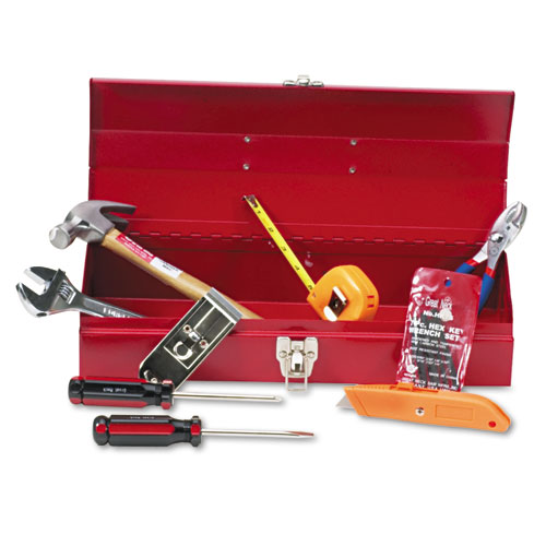 16-Piece Light-Duty Office Tool Kit, Metal Box, Red