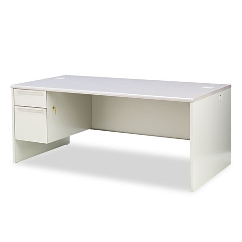 HON® 38000 Series Left Pedestal Desk, 72w x 36d x 29-1/2h, Light Gray