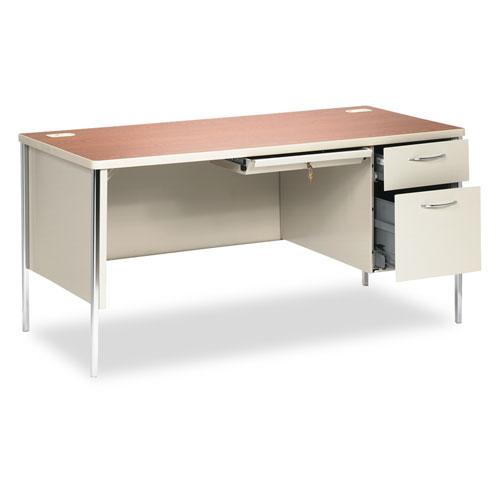 HON® Mentor Series Single Pedestal Desk, 48w x 30d x 29-1/2h, Harvest/Putty