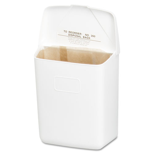 Wall Mount Sanitary Napkin Receptacle-ABS, PPC Plastic, 1 gal, White